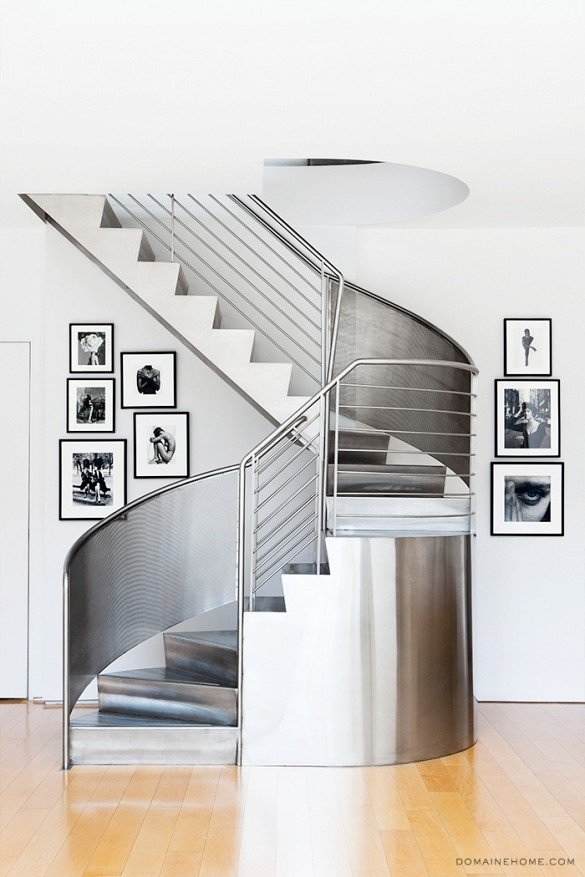 Steel spiral staircase in New York City townhouse on Thou Swell @thouswellblog
