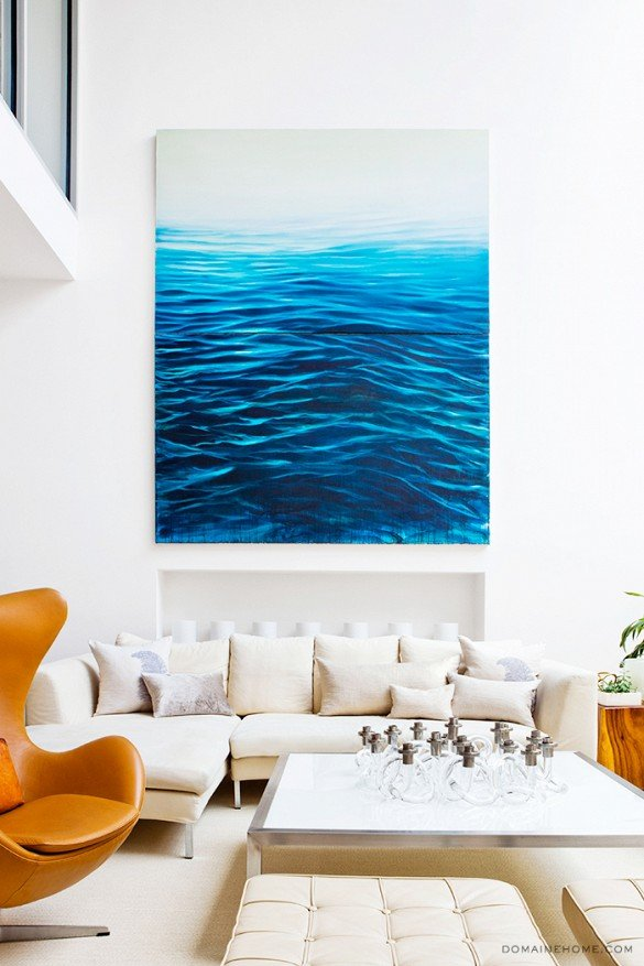 Modern New York City townhouse living room with large ocean painting on Thou Swell @thouswellblog