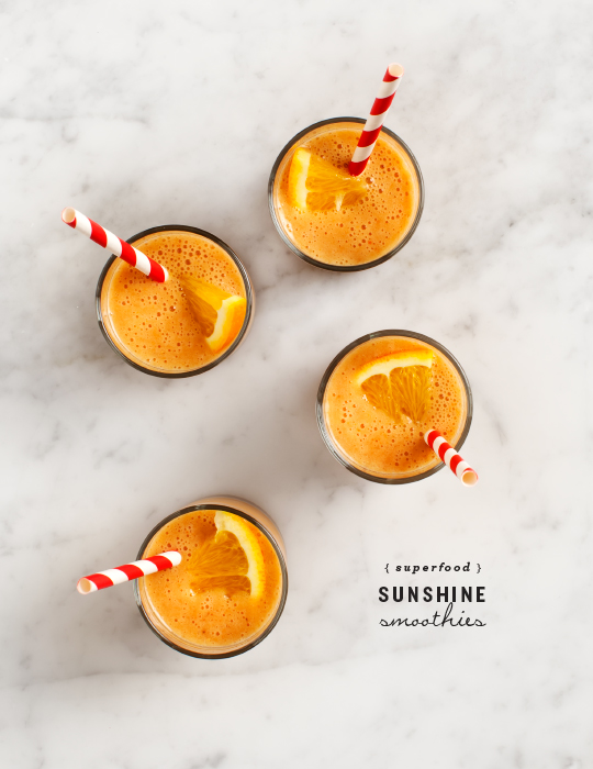 Superfood sunshine smoothie recipe via Love and Lemons on Thou Swell | 8 Smoothies to Make in the New Year https://thouswell.com/8-smoothies-to-make-in-the-new-year