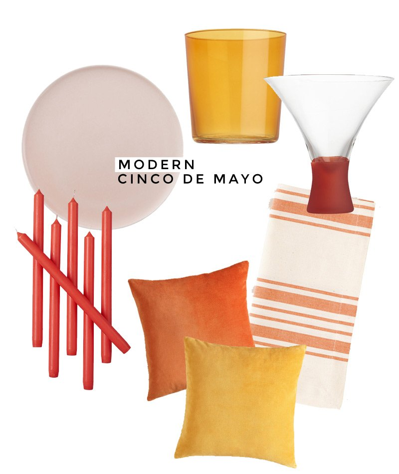 Warm-hued inspiration for a modern Cinco de Mayo celebration, inspired by Mexico City's contemporary color-blocking.