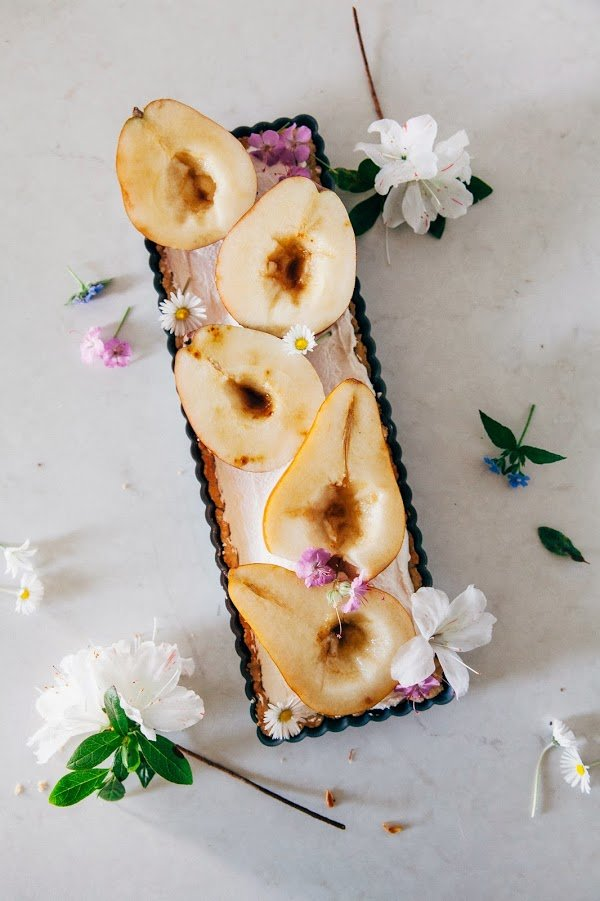 Caramel Mascarpone Tart with Brown Sugar Pears via Hummingbird High