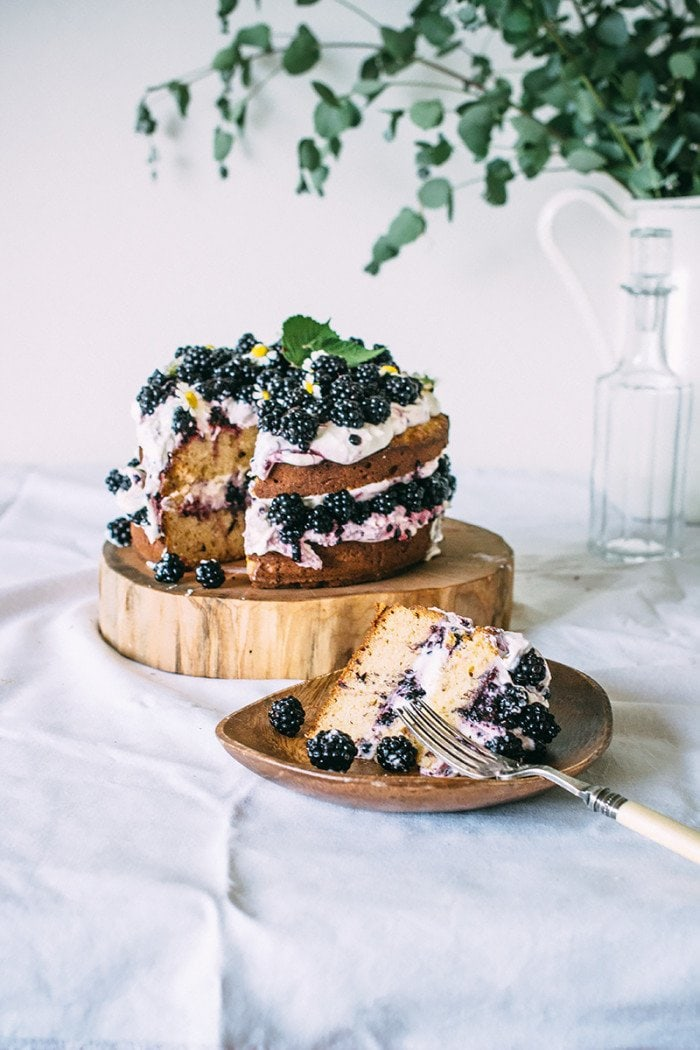 Rustic hazelnut blackberry cake via The Artful Desperado