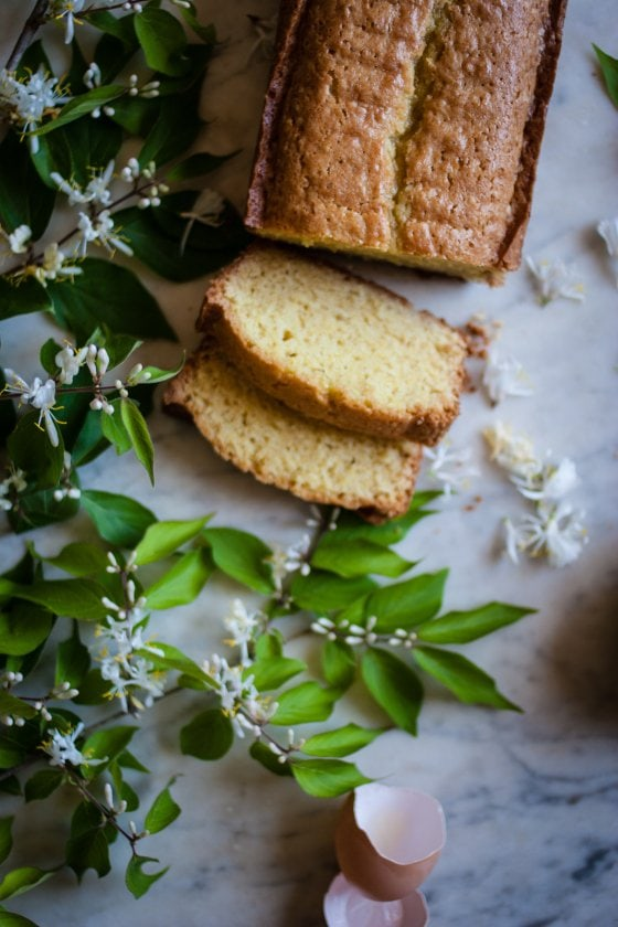 Honeysuckle poundcake via For the Love of the South