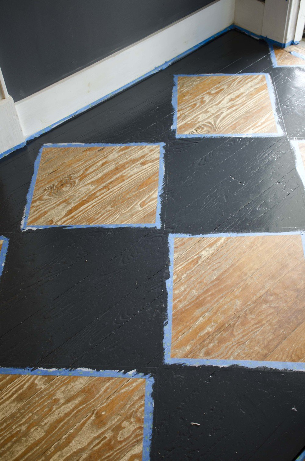 Checkerboard painted floor pattern