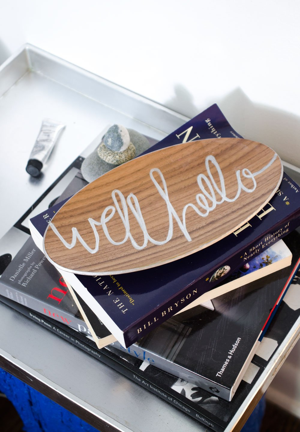 Take a paint pen and add a fun message to an Ikea serving bowl for a great decorative element. #IkeaHack