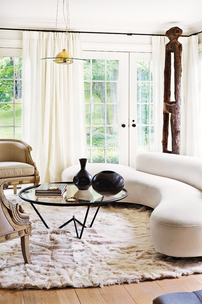 Serene modern living room in a farmhouse renovation via @thouswellblog
