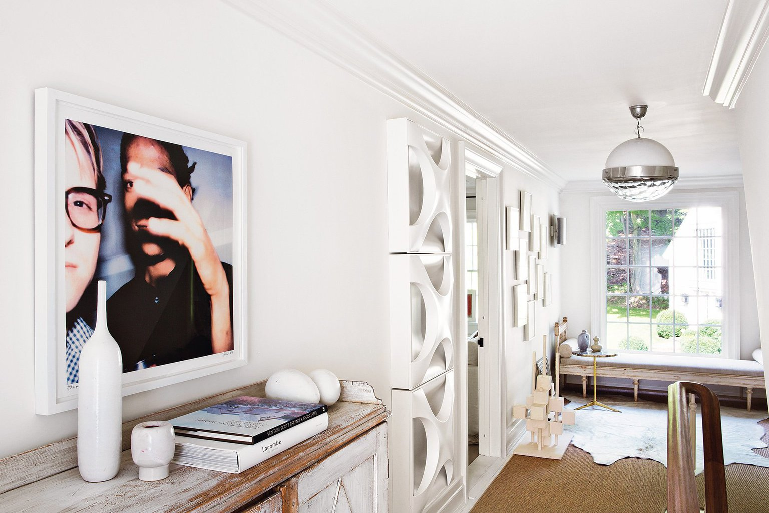 Modern white decor in a contemporary farmhouse renovation in New York via @thouswellblog