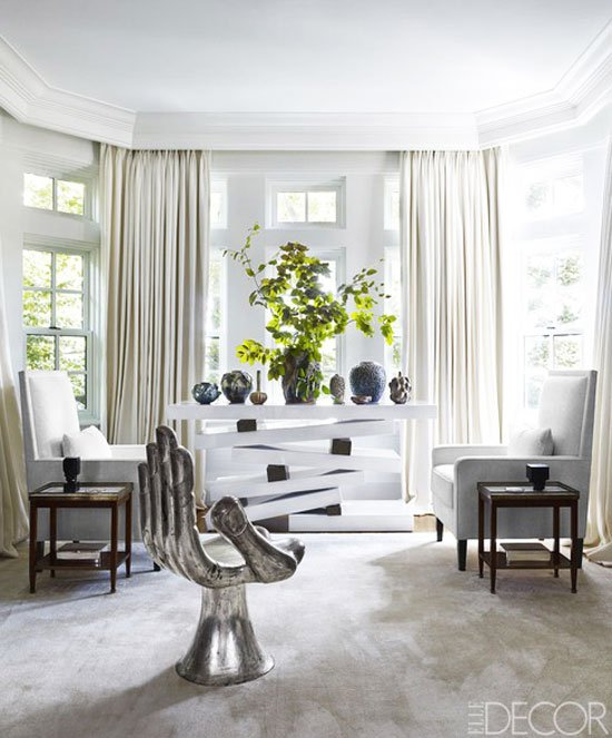 A white and silver vignette in the sophisticated Toronto home of Maxine and Ira Gluskin.