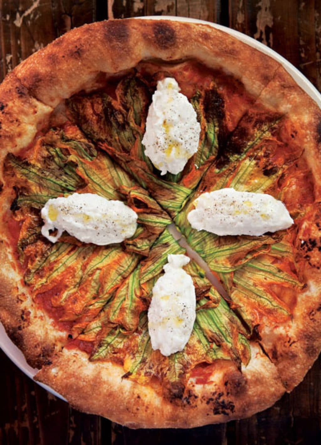 Squash Blossom pizza via Saveur