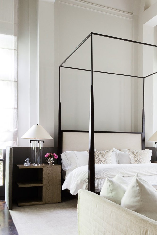 A minimal bedroom with soaring ceiling heights on @thouswellblog