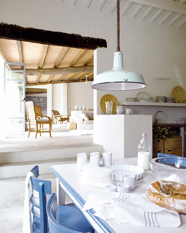 A simple, laid-back country home kitchen in blue and white.