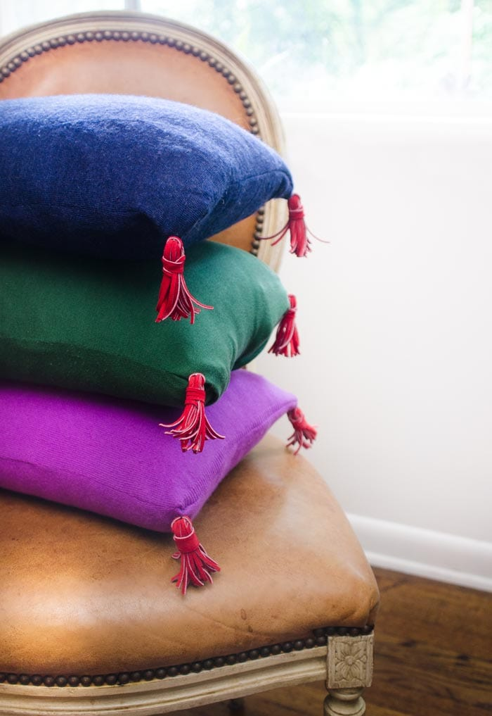 Turn your old cashmere sweaters into chic throw pillows on Thou Swell.