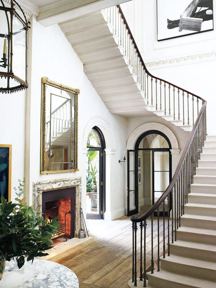 The grand foyer of Rose Uniacke's London home.