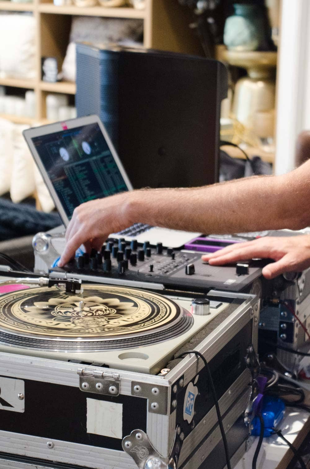 DJ Timothy DeGroot at West Elm Local Pop-Up