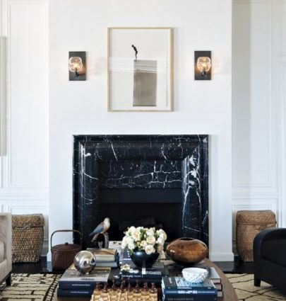 Black marble fireplace mantel surround on Thou Swell @thouswellblog