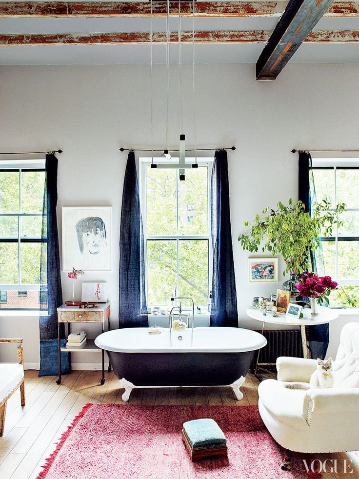 Cozy bohemian free-standing bathtub bathroom inspiration