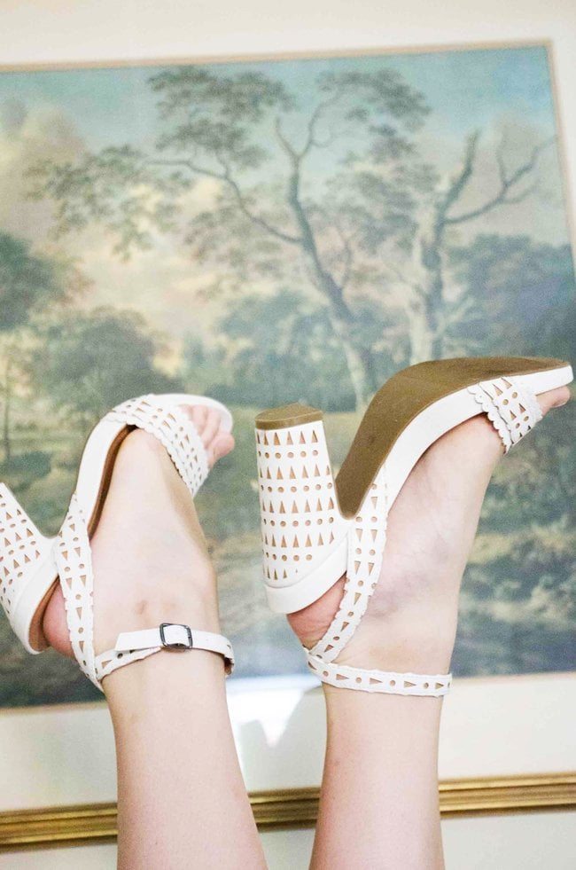 Geometric lace cut-out chunky high-heels.