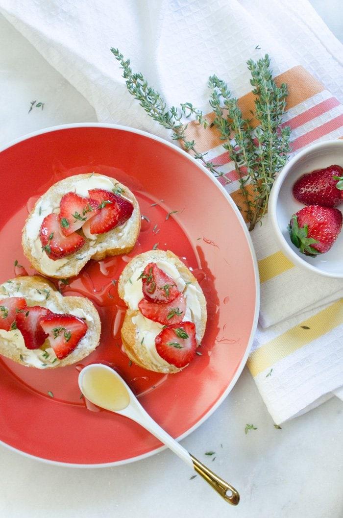 Strawberries, Cream Cheese, Honey & Fresh Thyme bruschetta