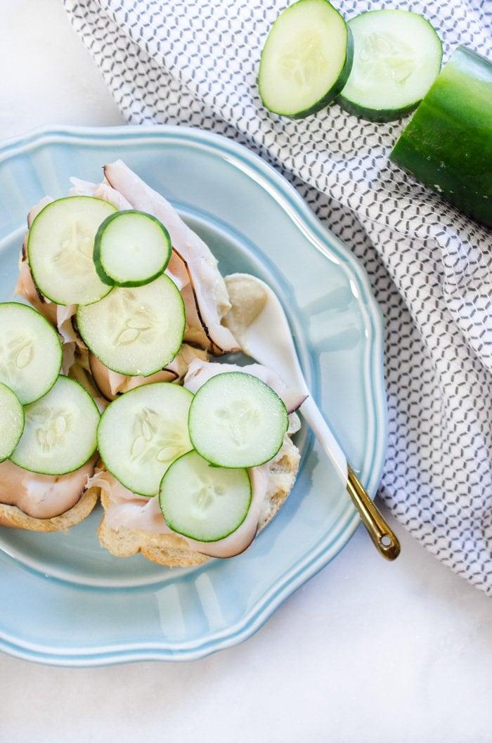 Hummus, Turkey & Cucumber bruschetta