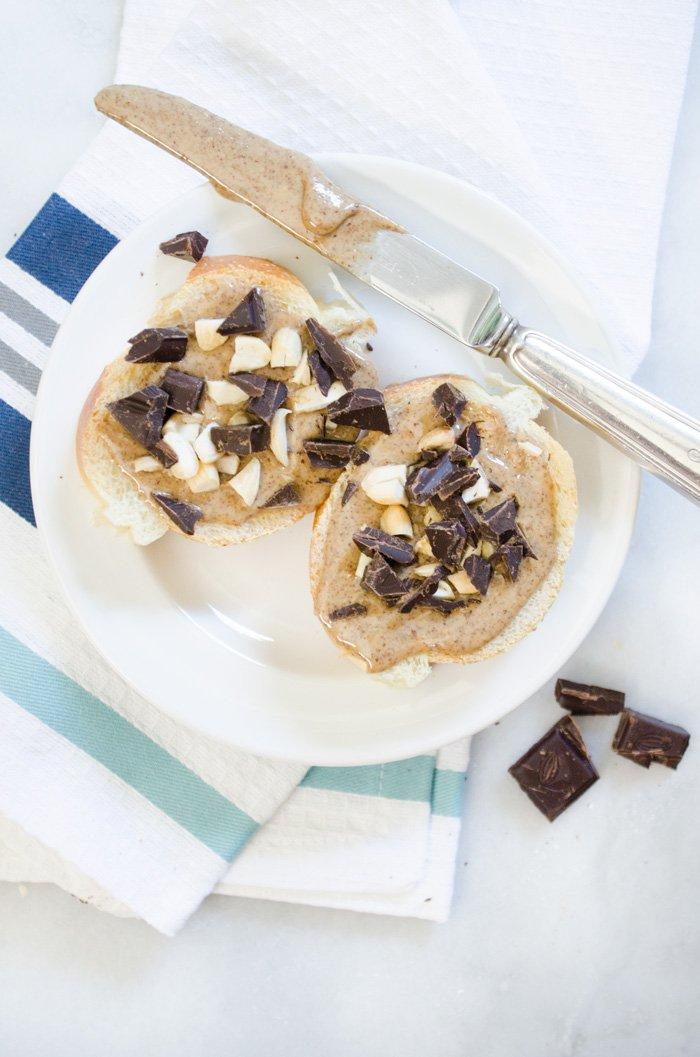 Almond Butter, Dark Chocolate & Crushed Almonds bruschetta