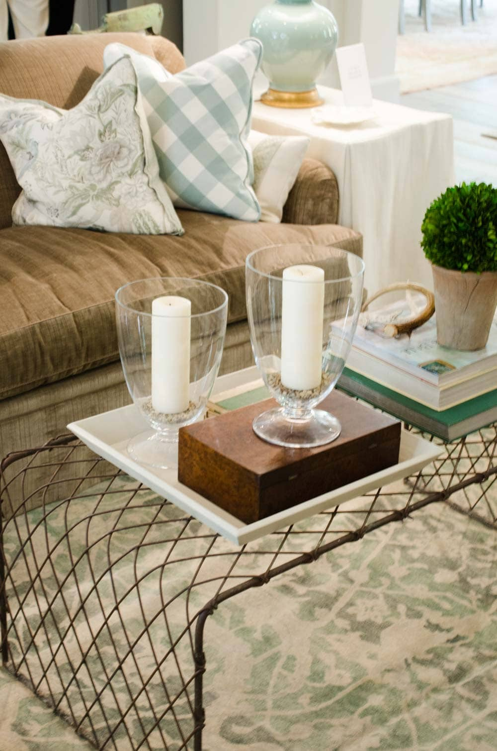 Wire coffee table in a traditional living room
