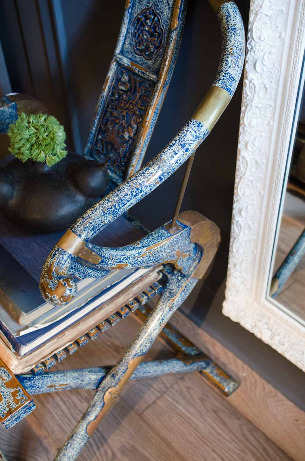 Antique chair details in the study