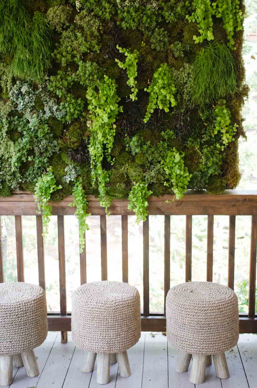 Hanging moss planter on porch