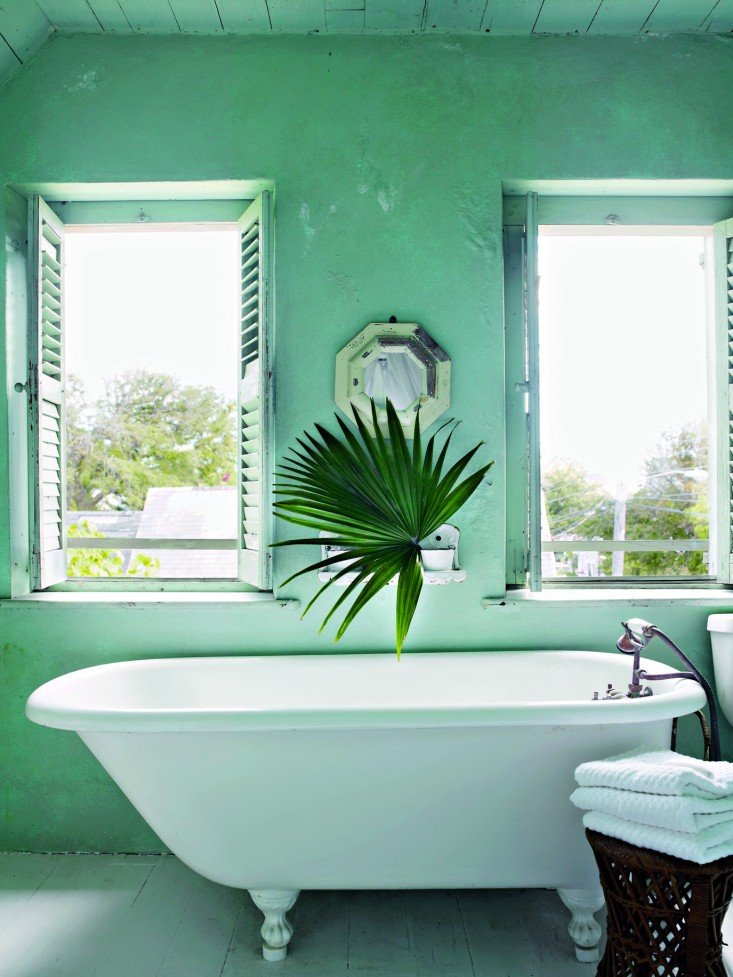 Tropical bathroom inspiration, free-standing tub with palm leaf