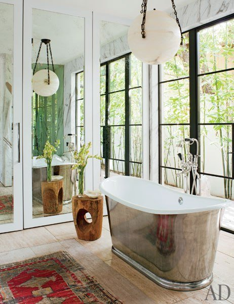 Sleek modern silver free-standing bathtub bathroom inspiration