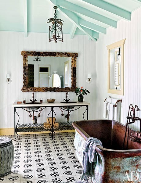 Worldly eclectic copper free-standing bathtub bathroom inspiration