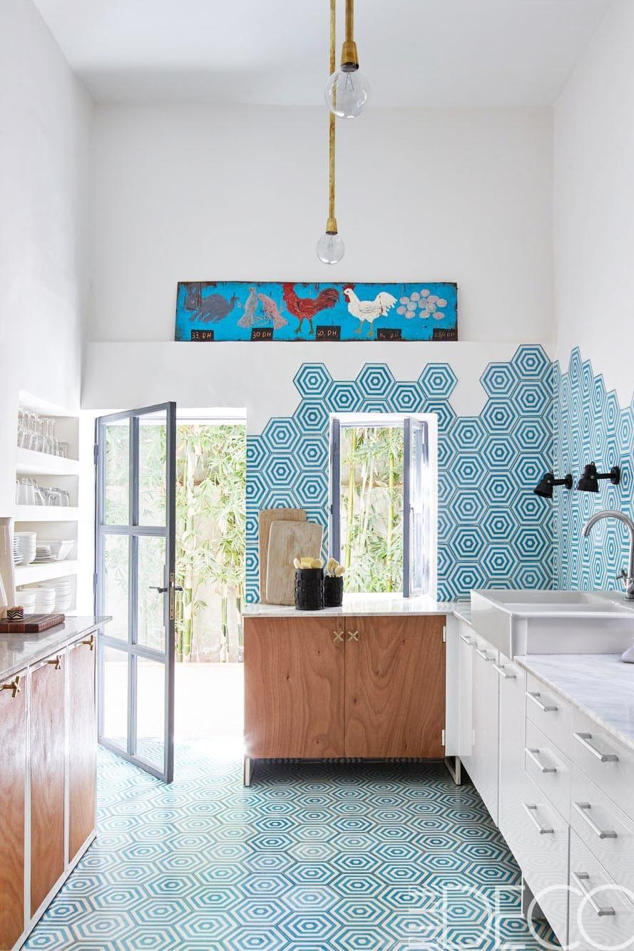 Bright modern kitchen in a 1950's home in Marrakech.