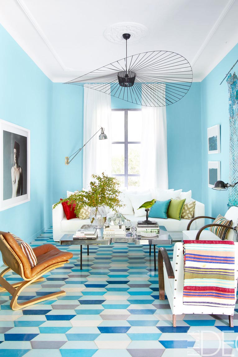 Bright colorful living room in the modern 1950's home of Moroccan tile designers.