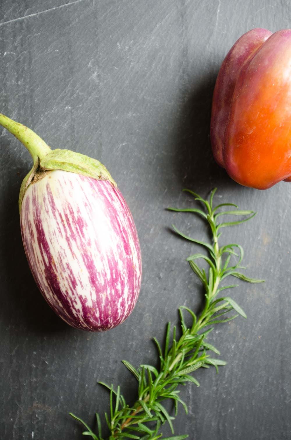 Eggplant, rosemary, bell pepper