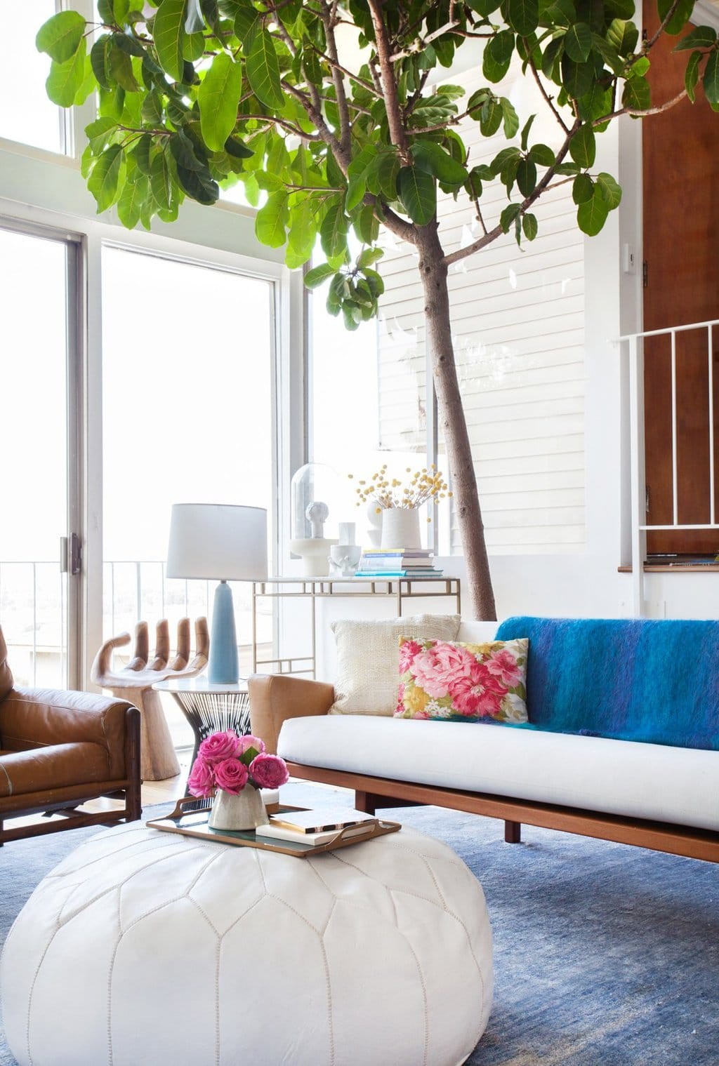Emily Henderson's modern LA home, with a blue and white mid-century mix.