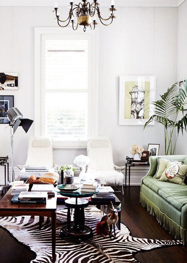 Eclectic emerald green neo-traditional living room