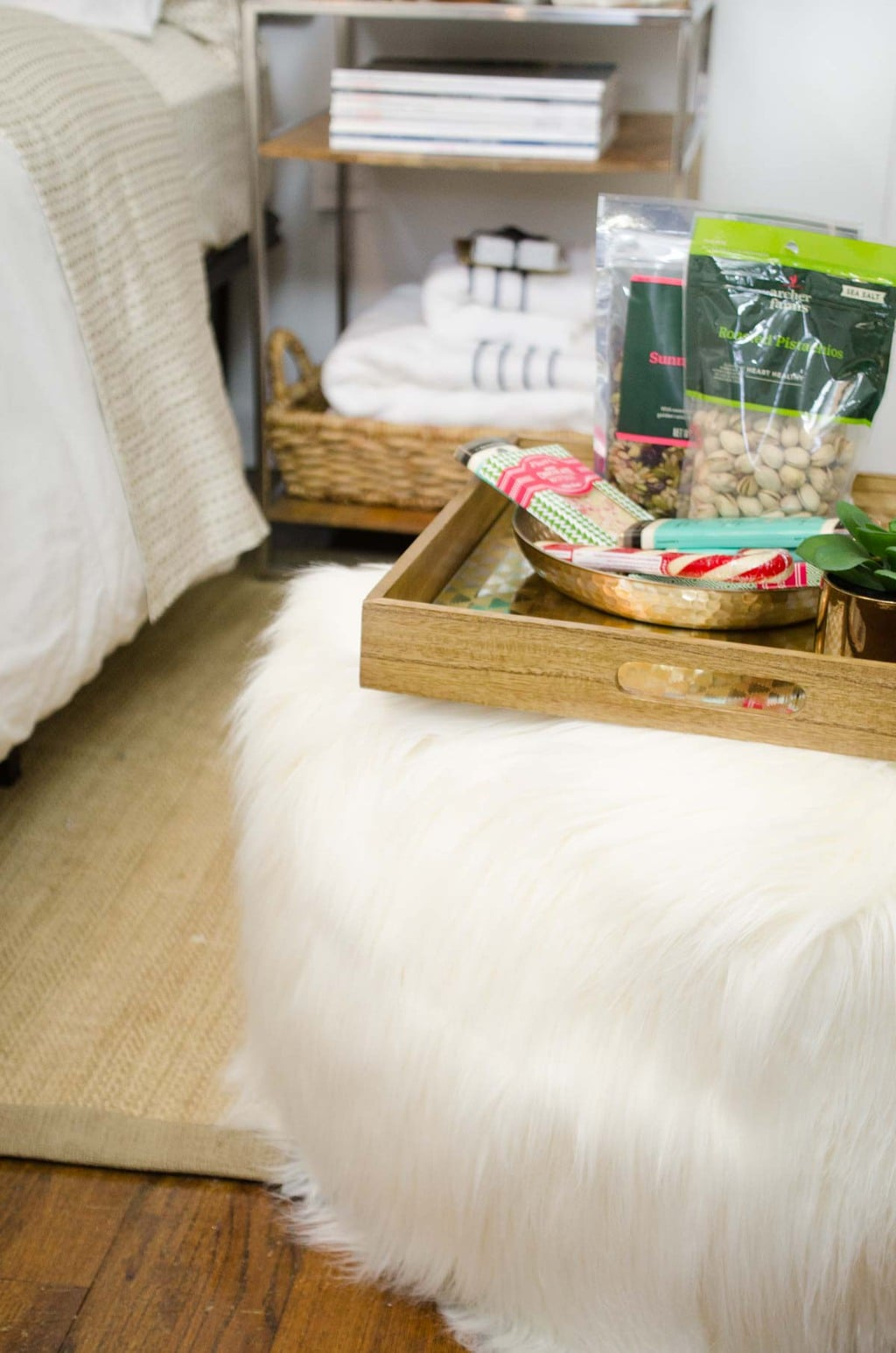 Holiday treats tray on furry ottoman for houseguests with @targetstyle