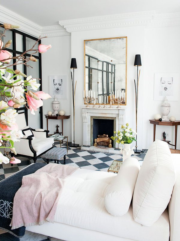 Serene white living room with black and white checkerboard floor via @thouswellblog.