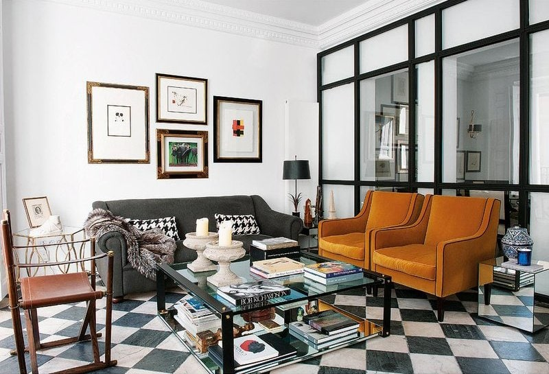 Modern apartment renovation with glass wall and checkerboard floor via @thouswellblog
