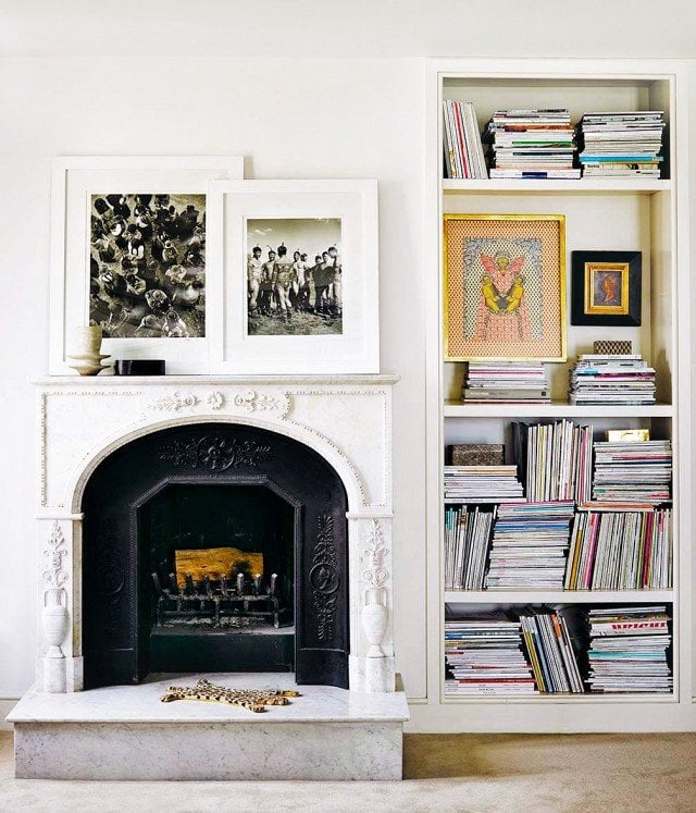 Fireplace and bookshelf details on @thouswellblog