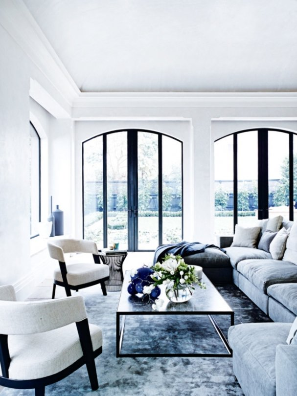 Grey and white living room in a white and blue Melbourne home on @thouswellblog