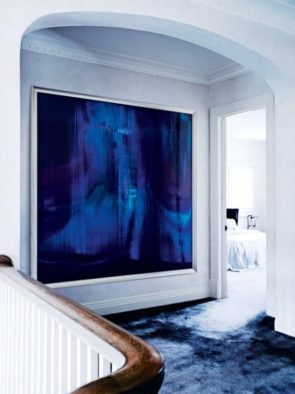 Oversized blue painting in a white and blue Melbourne home on @thouswellblog