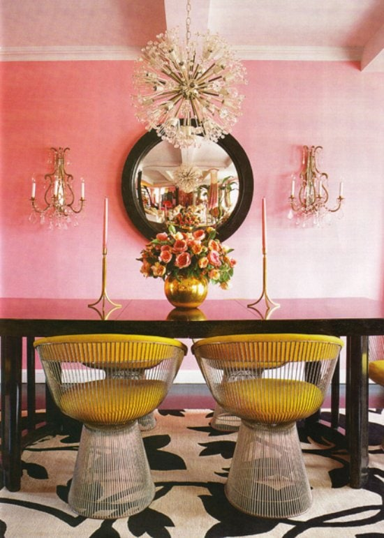 Betsy Johnson's pink dining room on @thouswellblog