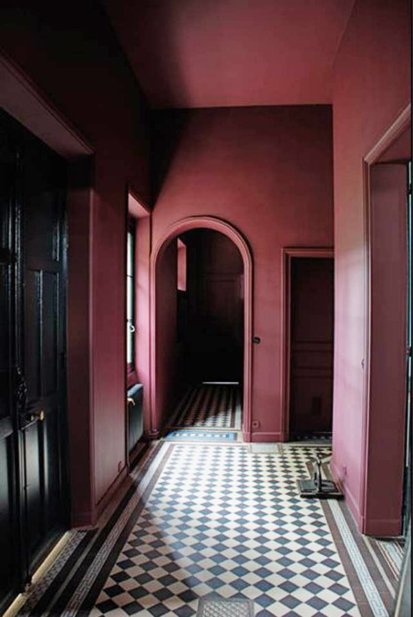 Dark marsala hallway with tiled floor on @thouswellblog
