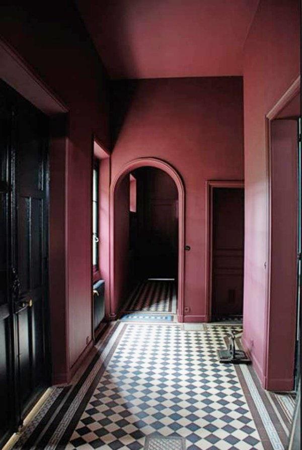 Dark marsala hallway with tiled floor on @thouswellblog