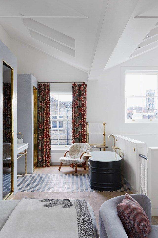Bedroom/bathroom modern loft in a London townhouse on @thouswellblog