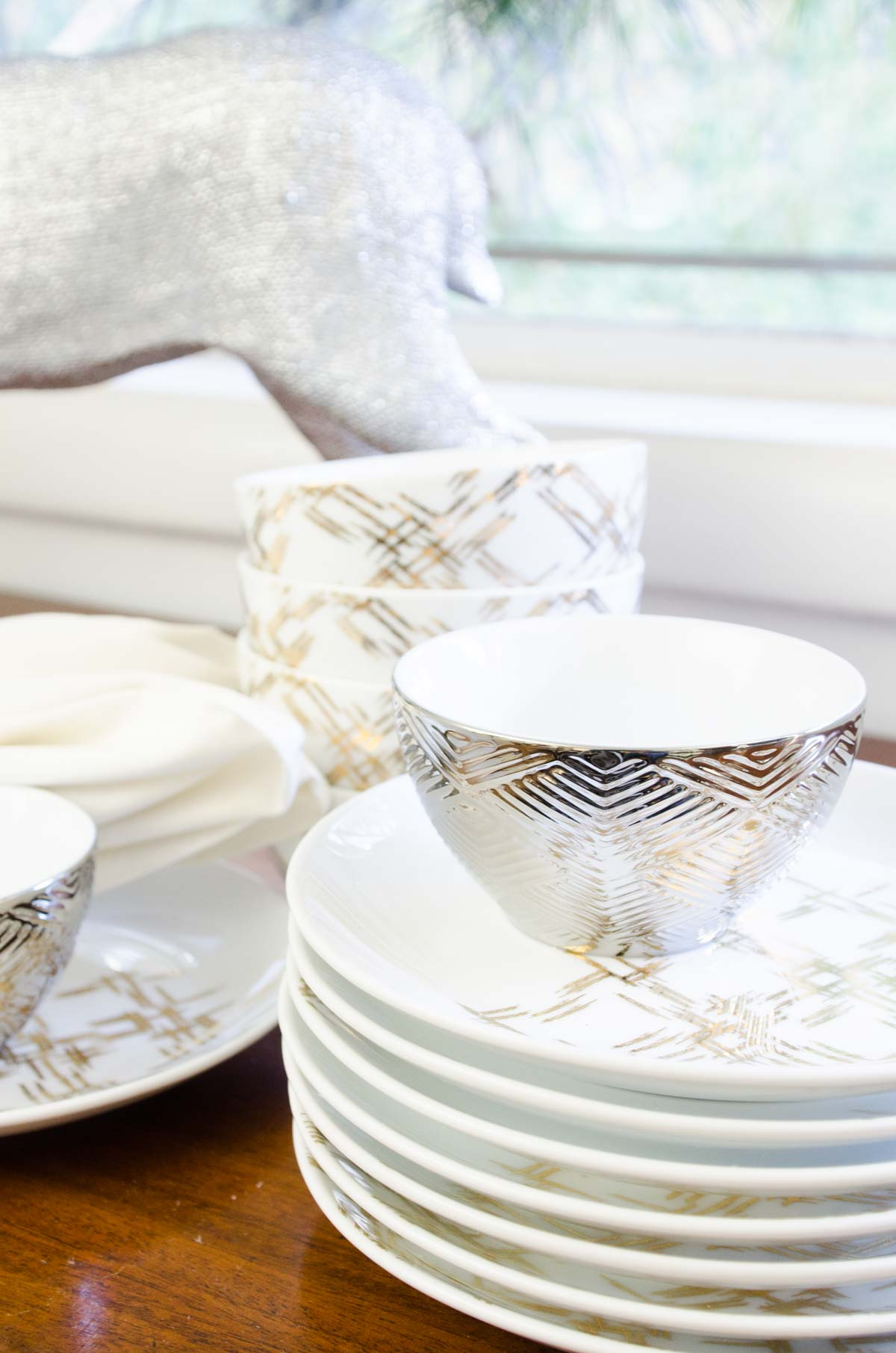 Bowls and plates for easy holiday entertaining on the buffet