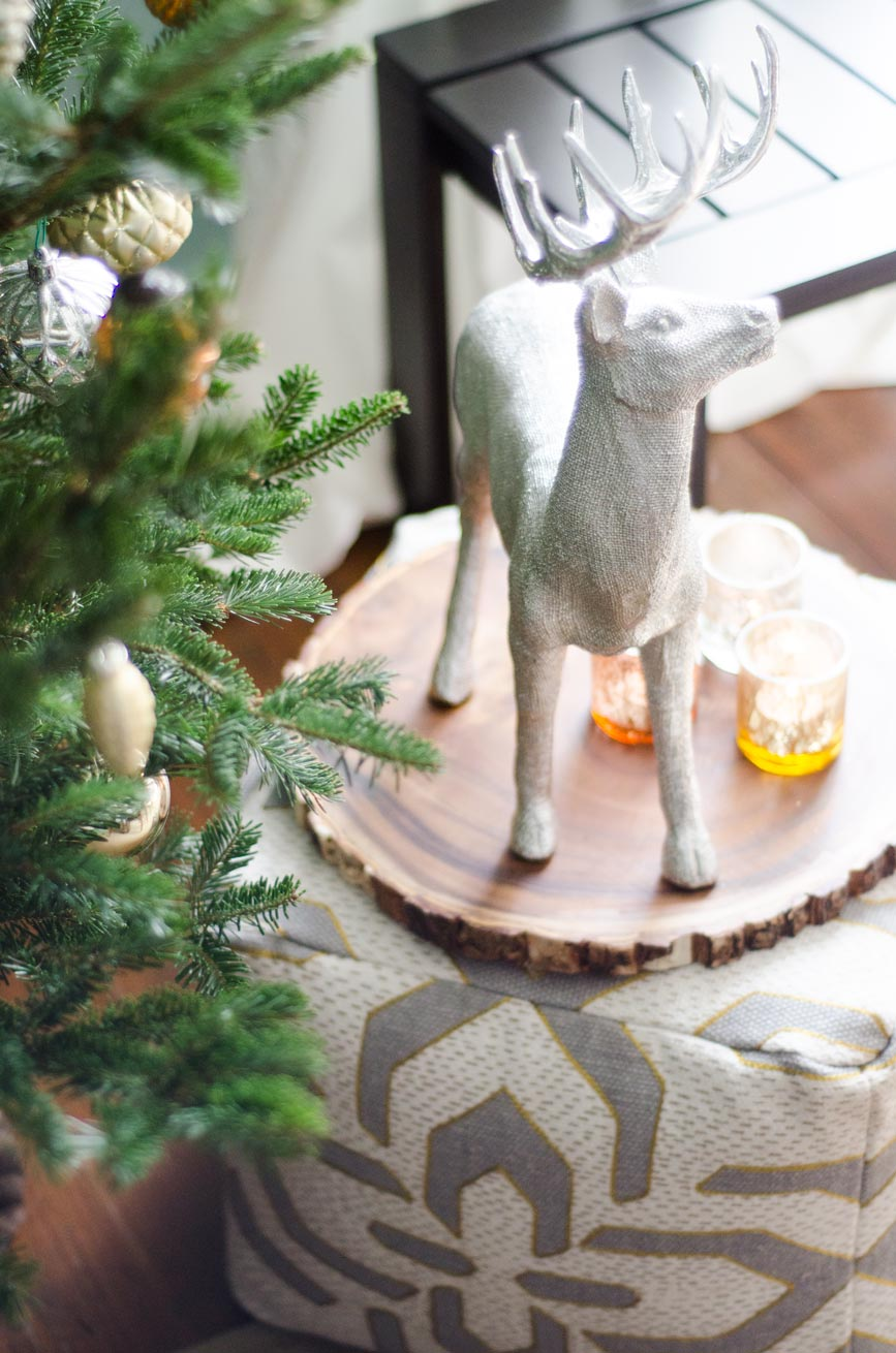 Holiday decor ideas, pouf and silver reindeer, modern holiday on @thouswellblog