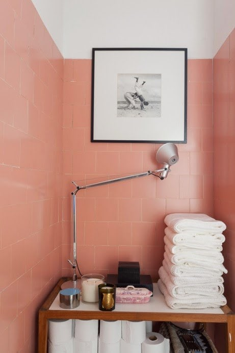 Pink bathroom tiles on @thouswellblog
