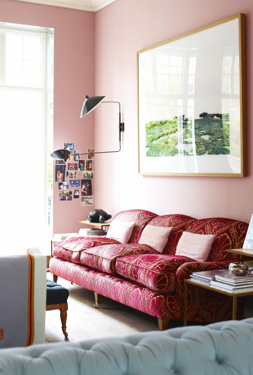 Silk velvet sofa in pink room on @thouswellblog