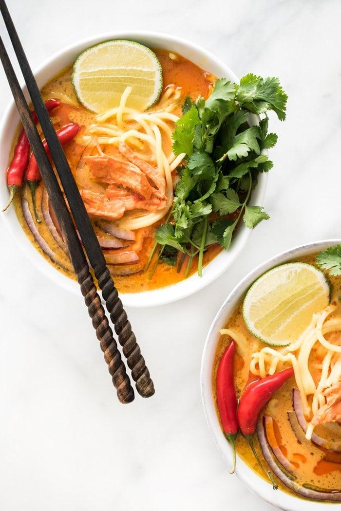 Spicy thai curry noodle soup on @thouswellblog via Hapa Nom
